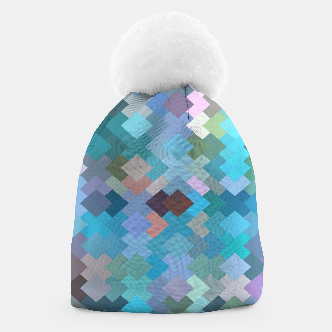 Image of geometric square pixel pattern abstract in blue and pink Beanie - Live Heroes