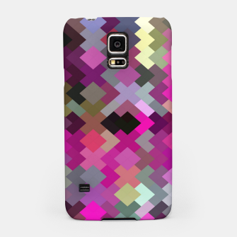 geometric square pixel pattern abstract in purple pink yellow Samsung Case thumbnail image