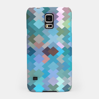 geometric square pixel pattern abstract in blue and pink Samsung Case thumbnail image