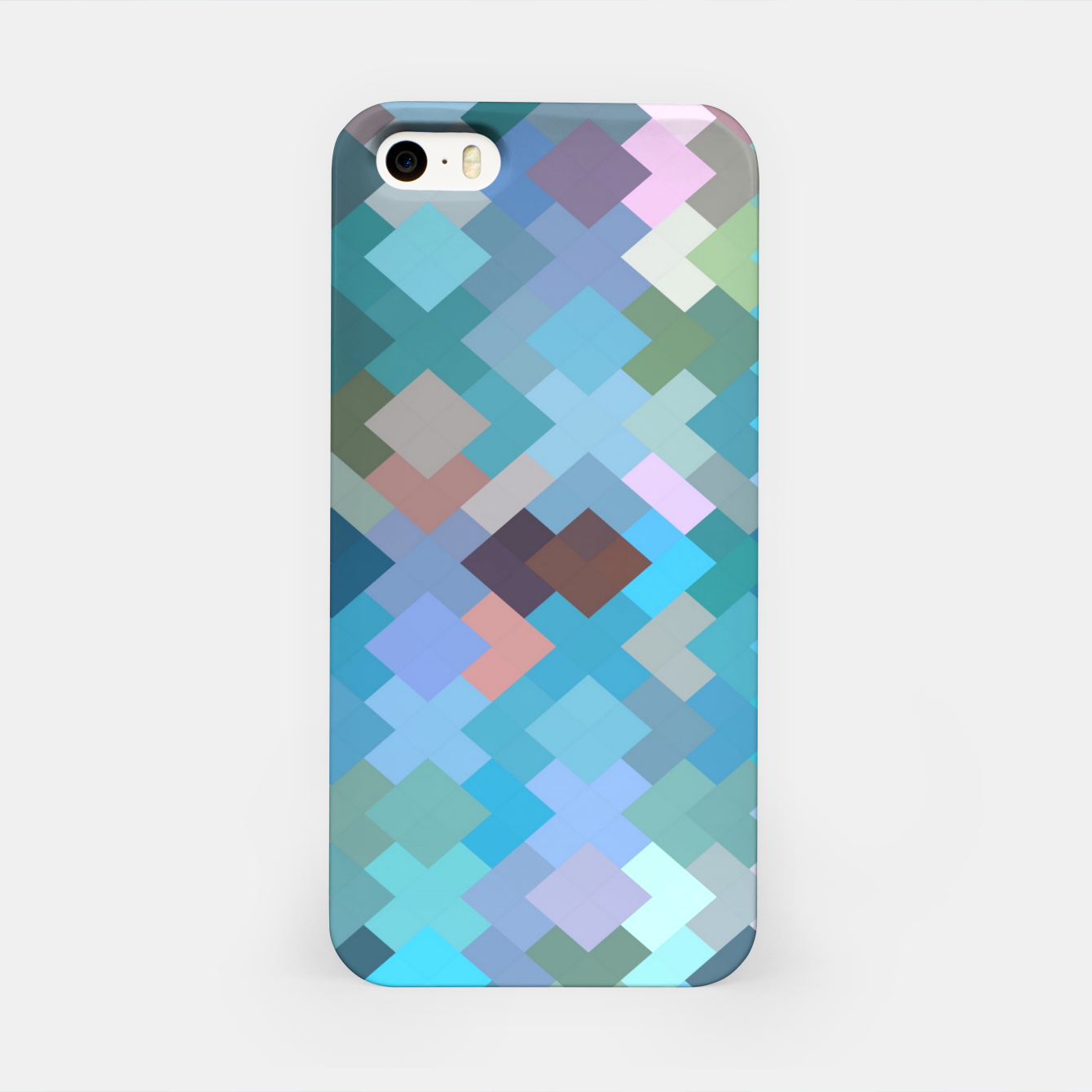 Image of geometric square pixel pattern abstract in blue and pink iPhone Case - Live Heroes