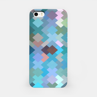 geometric square pixel pattern abstract in blue and pink iPhone Case thumbnail image