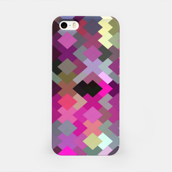 geometric square pixel pattern abstract in purple pink yellow iPhone Case thumbnail image