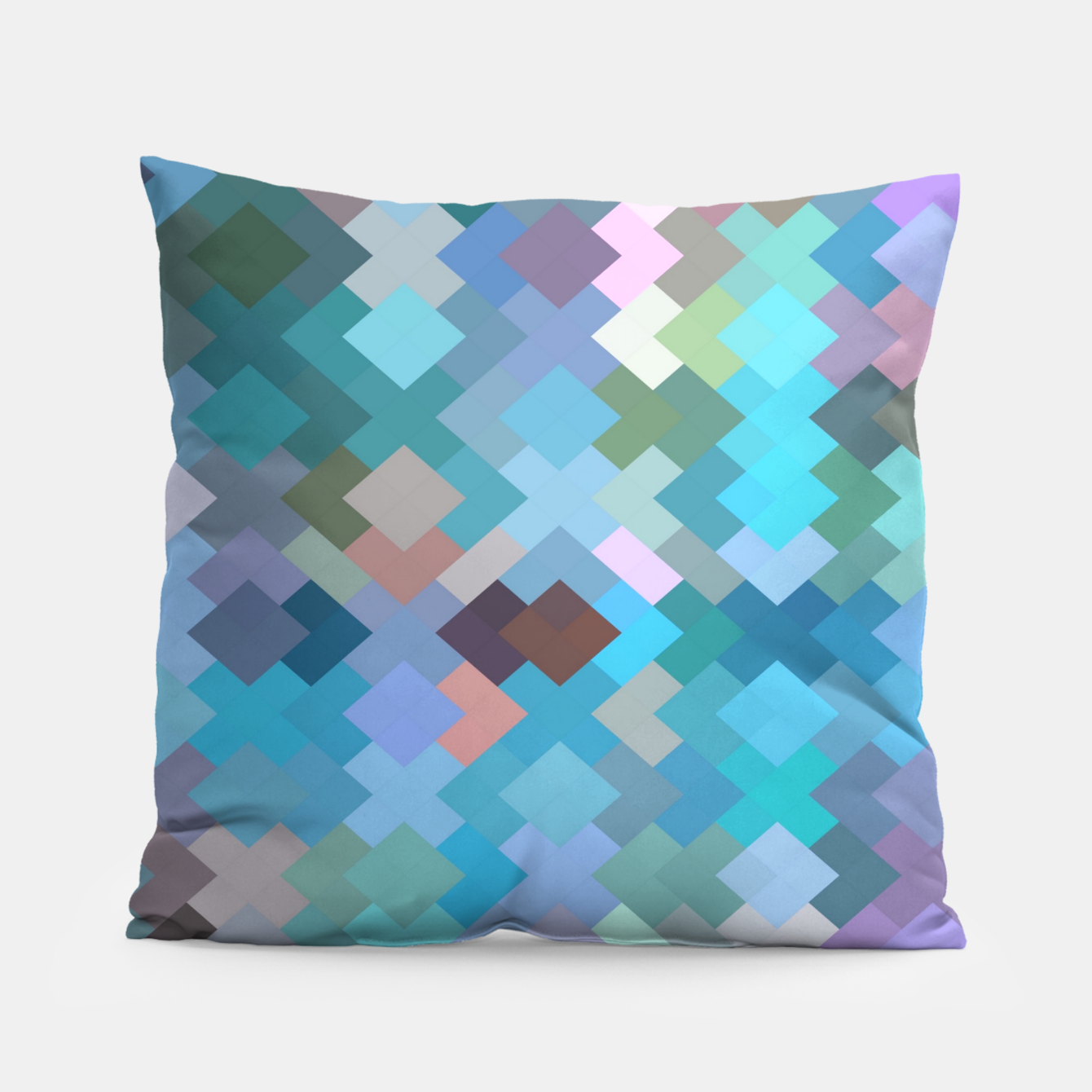 Image of geometric square pixel pattern abstract in blue and pink Pillow - Live Heroes