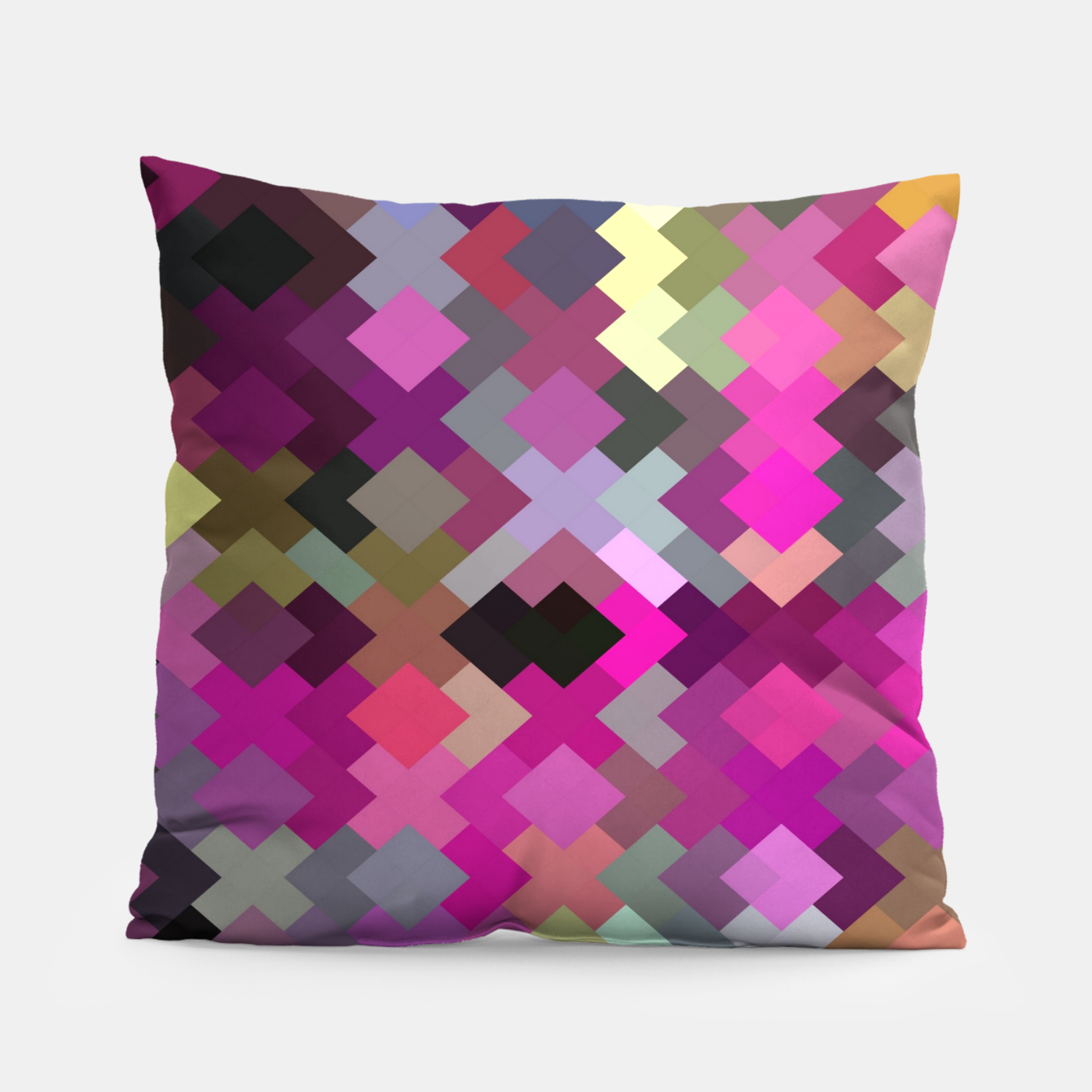 Image of geometric square pixel pattern abstract in purple pink yellow Pillow - Live Heroes