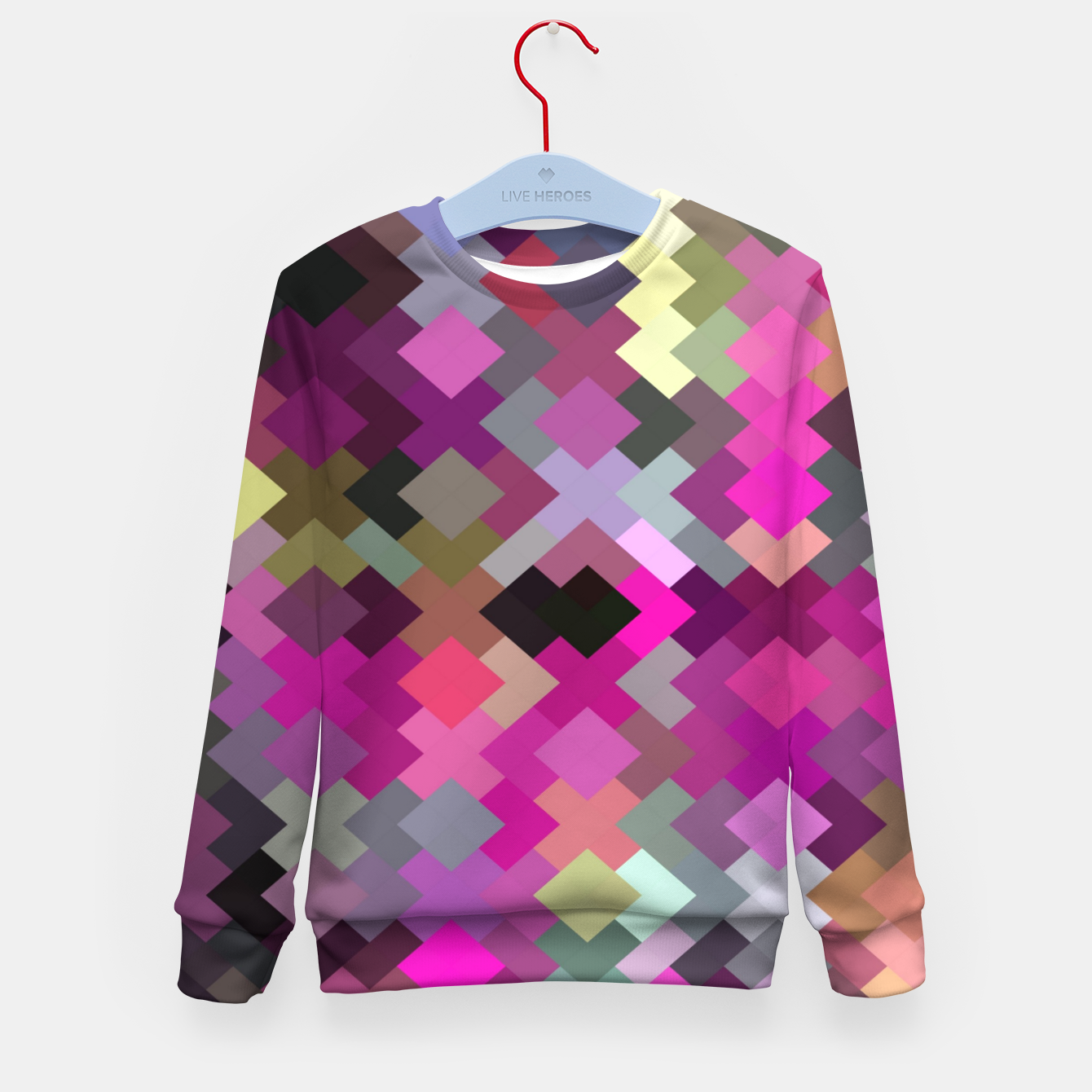 Image of geometric square pixel pattern abstract in purple pink yellow Kid's sweater - Live Heroes