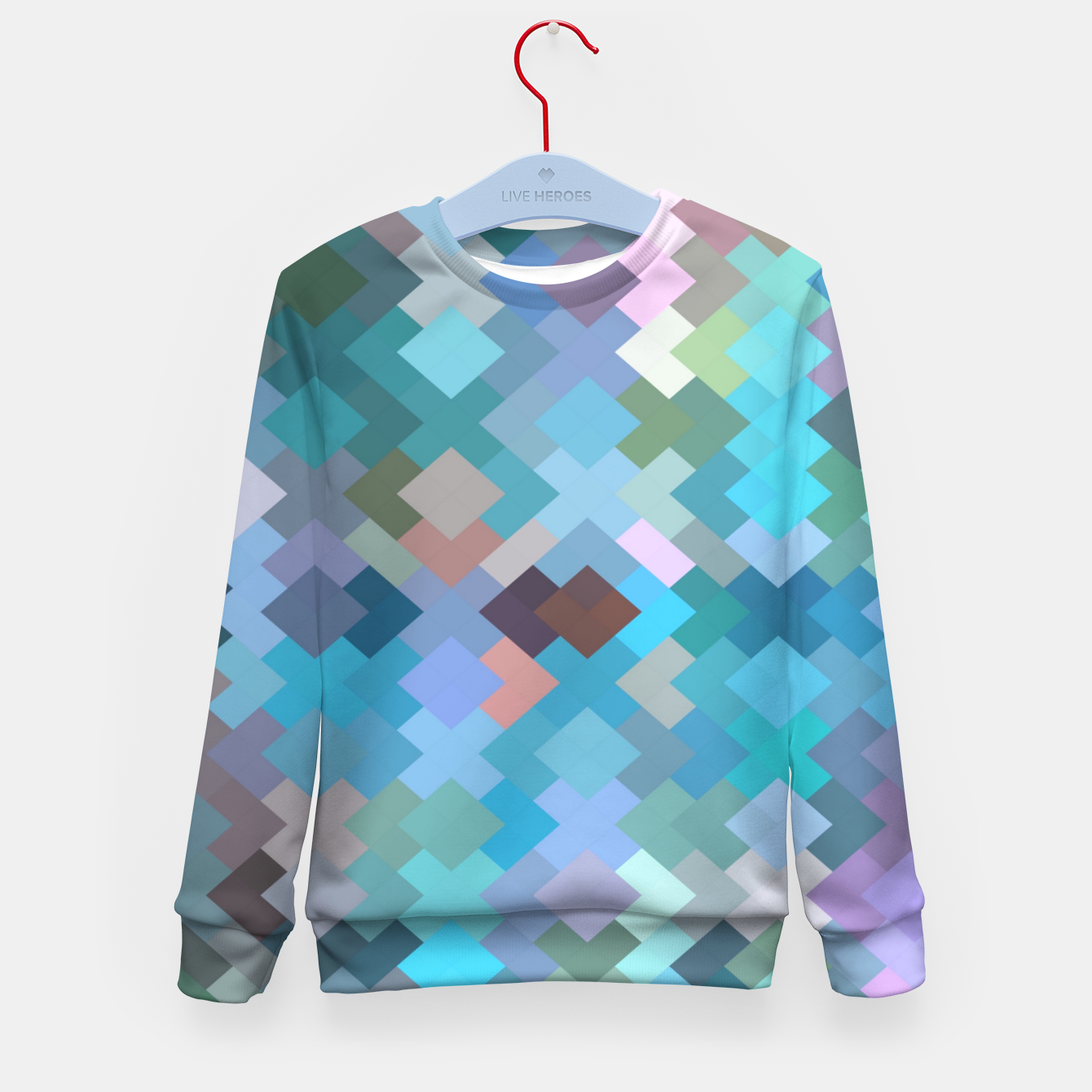 Image of geometric square pixel pattern abstract in blue and pink Kid's sweater - Live Heroes