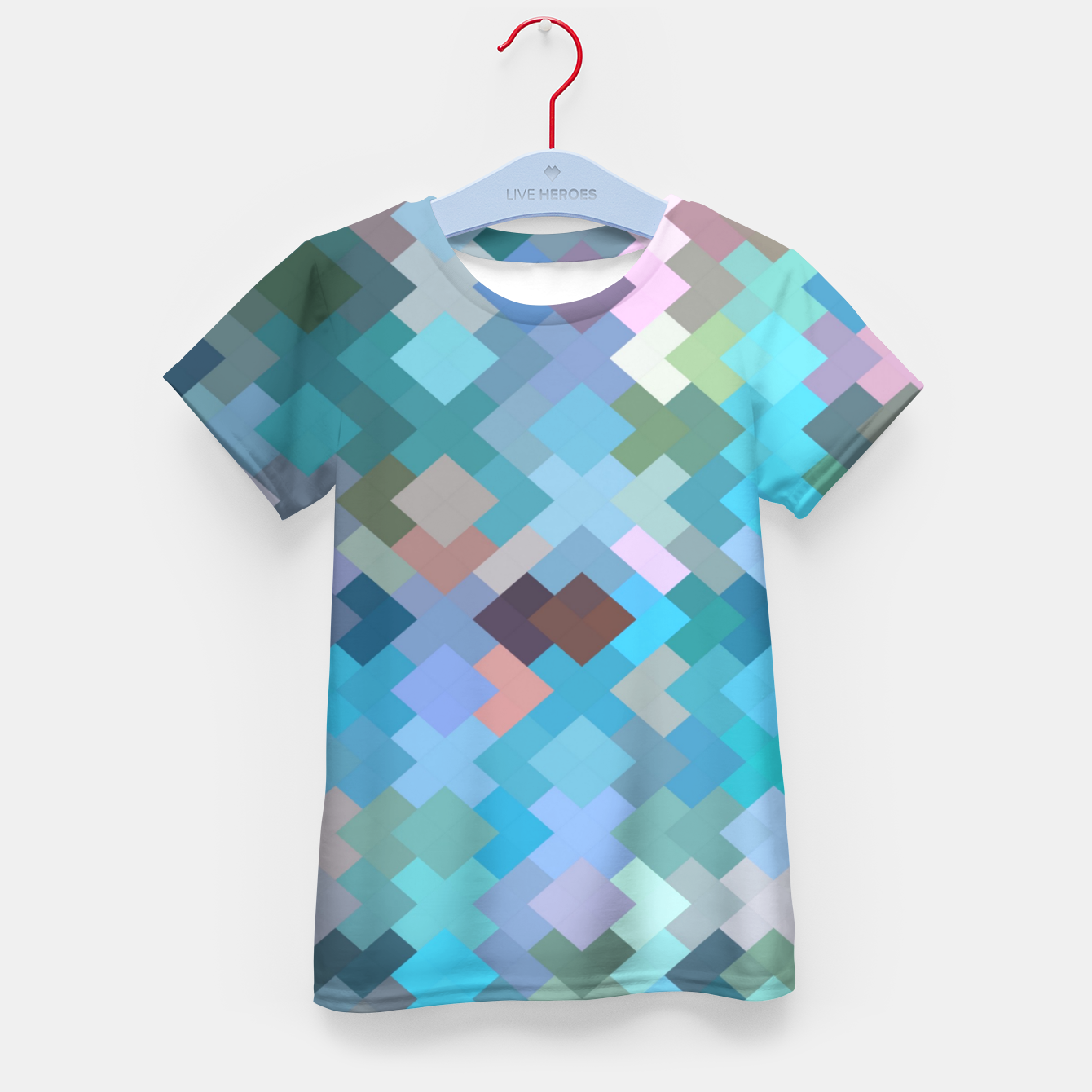 Image of geometric square pixel pattern abstract in blue and pink Kid's t-shirt - Live Heroes