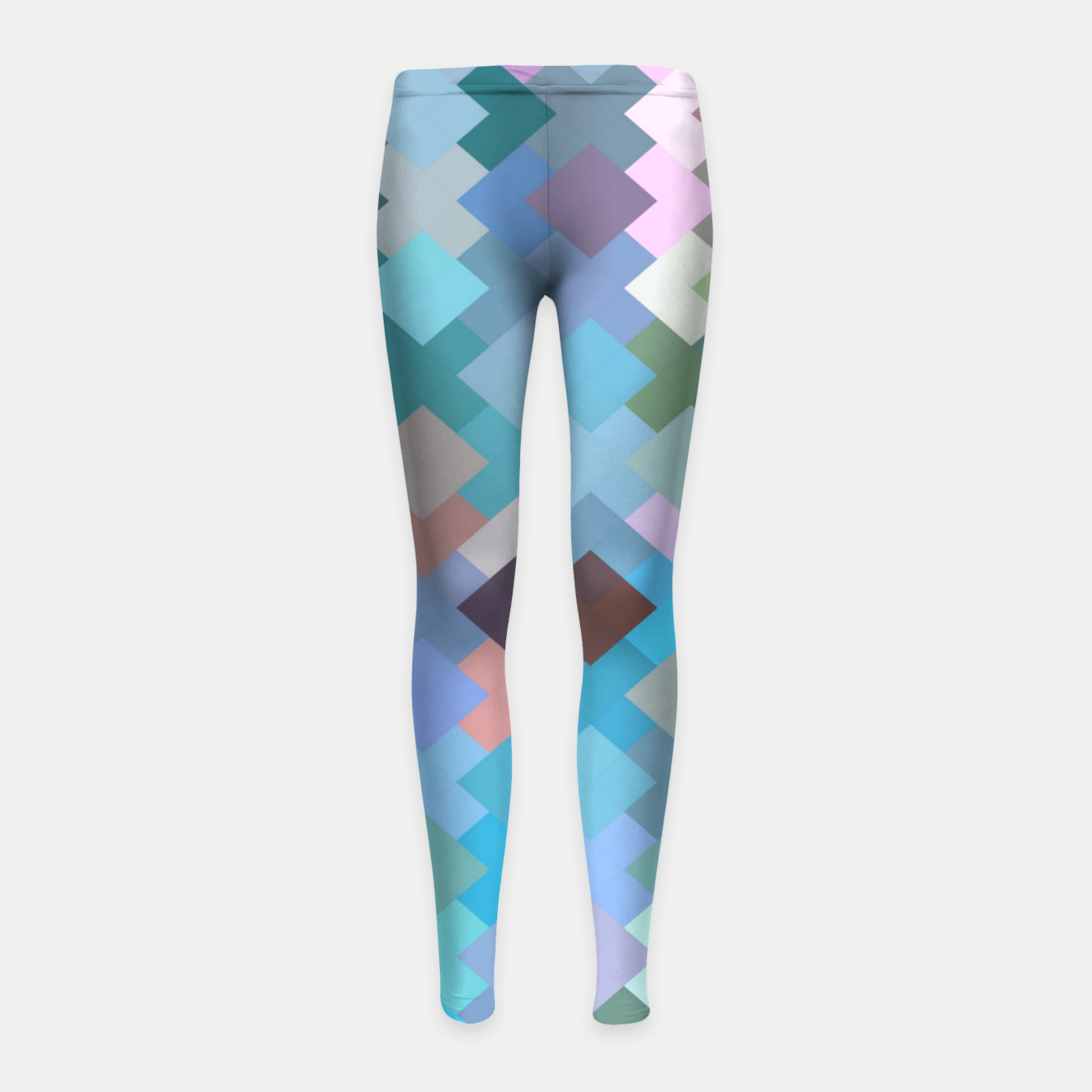 Image of geometric square pixel pattern abstract in blue and pink Girl's leggings - Live Heroes