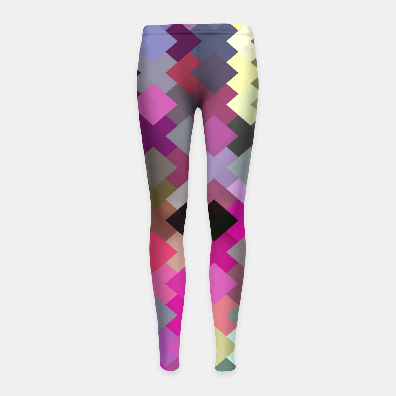 Image of geometric square pixel pattern abstract in purple pink yellow Girl's leggings - Live Heroes
