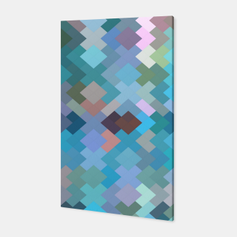 geometric square pixel pattern abstract in blue and pink Canvas thumbnail image