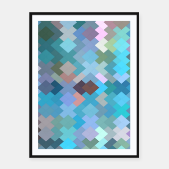 geometric square pixel pattern abstract in blue and pink Framed poster thumbnail image
