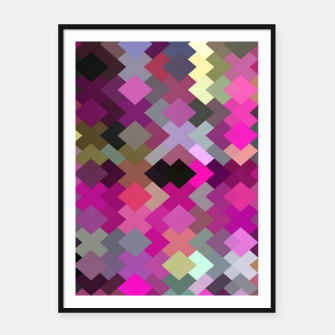 geometric square pixel pattern abstract in purple pink yellow Framed poster thumbnail image