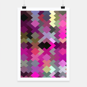geometric square pixel pattern abstract in purple pink yellow Poster thumbnail image