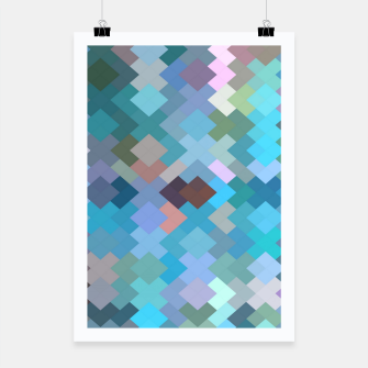 geometric square pixel pattern abstract in blue and pink Poster thumbnail image