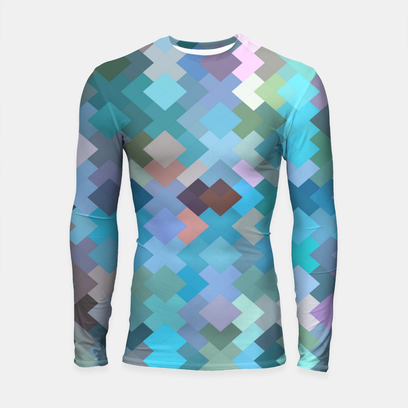 Image of geometric square pixel pattern abstract in blue and pink Longsleeve rashguard  - Live Heroes