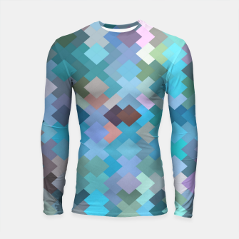 geometric square pixel pattern abstract in blue and pink Longsleeve rashguard  thumbnail image