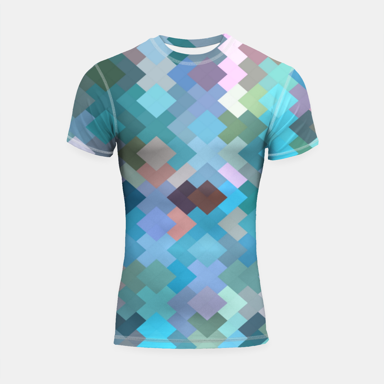 Image of geometric square pixel pattern abstract in blue and pink Shortsleeve rashguard - Live Heroes