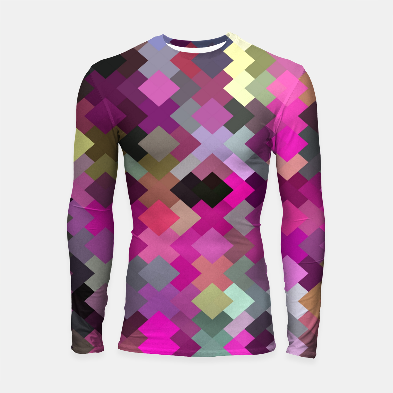 Image of geometric square pixel pattern abstract in purple pink yellow Longsleeve rashguard  - Live Heroes