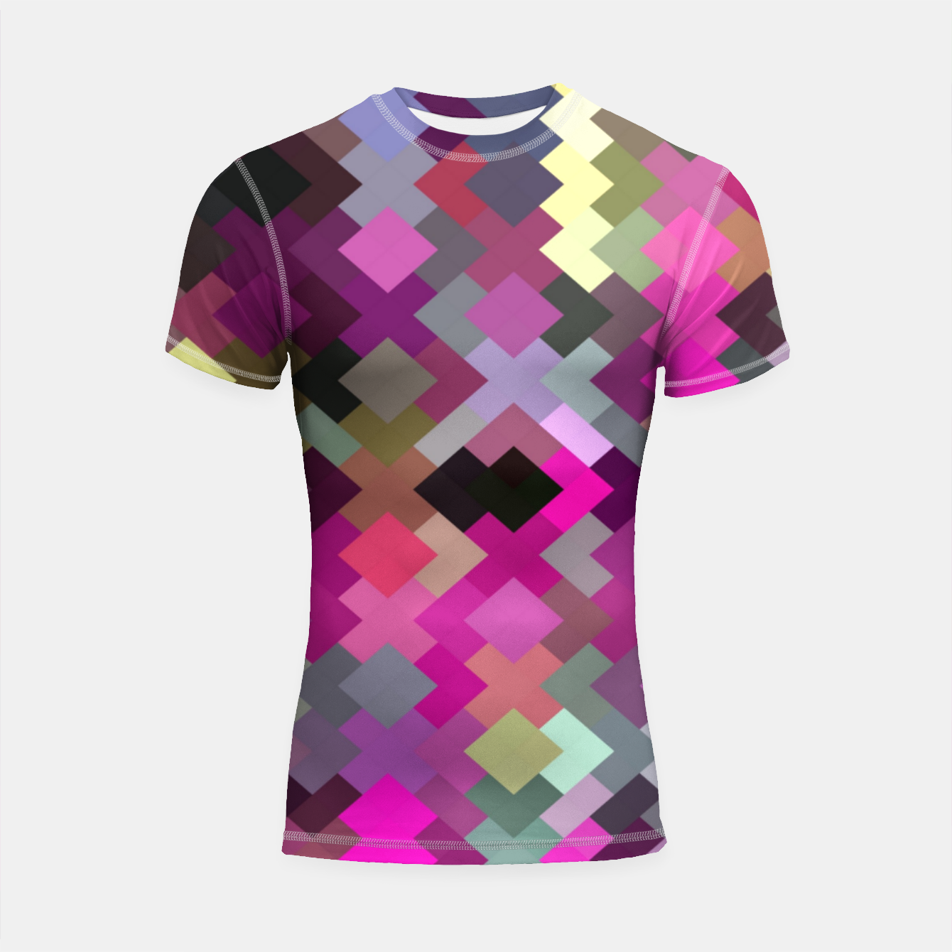 Image of geometric square pixel pattern abstract in purple pink yellow Shortsleeve rashguard - Live Heroes