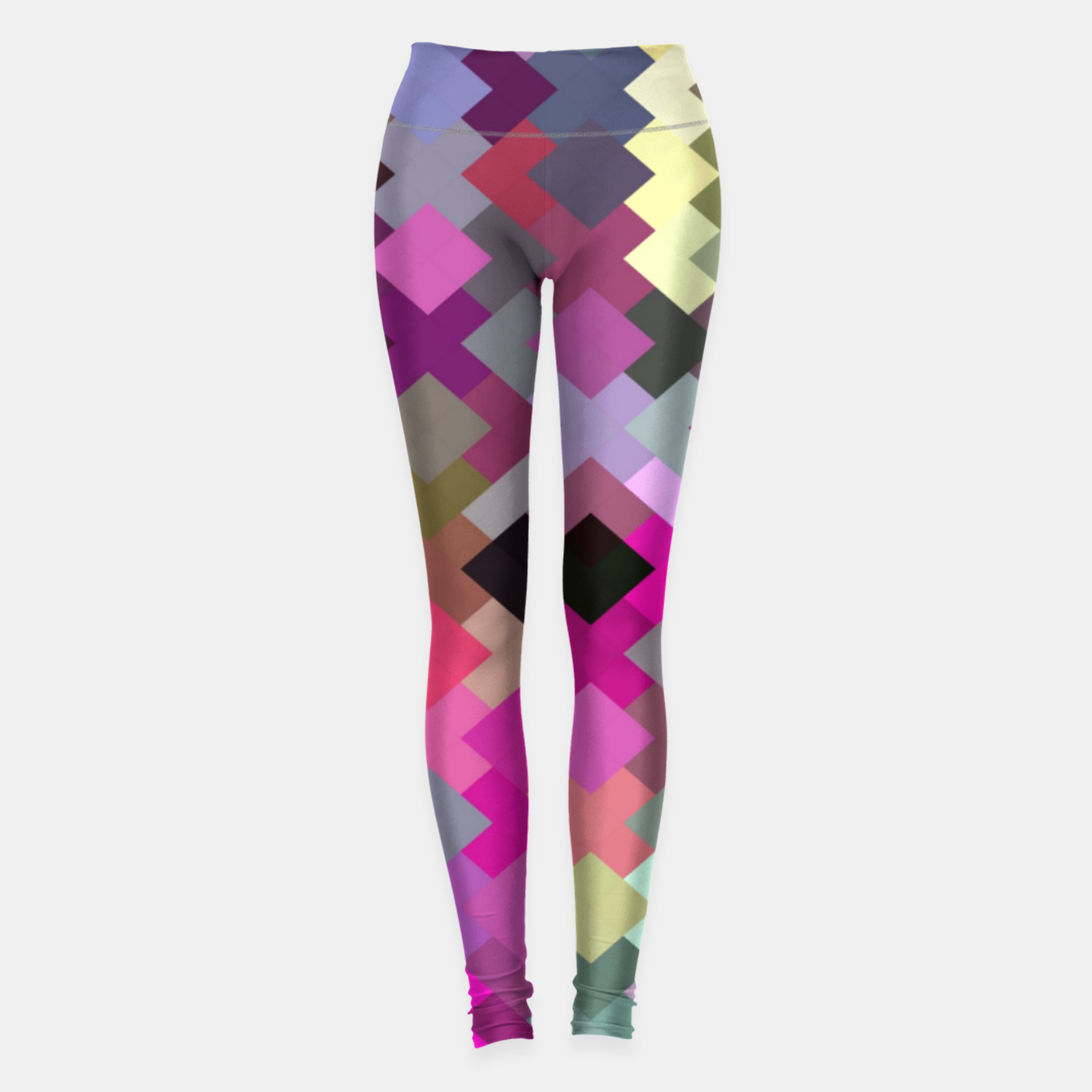 Image of geometric square pixel pattern abstract in purple pink yellow Leggings - Live Heroes