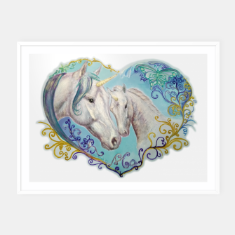 Thumbnail image of UNICORN MARE AND FOAL -DH Plakaty w ramie , Live Heroes