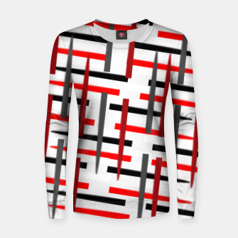 Thumbnail image of black white red grey white abstract art Women sweater, Live Heroes