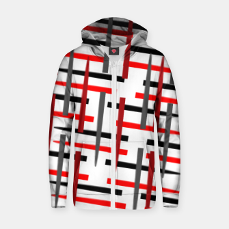Thumbnail image of black white red grey white abstract art Zip up hoodie, Live Heroes