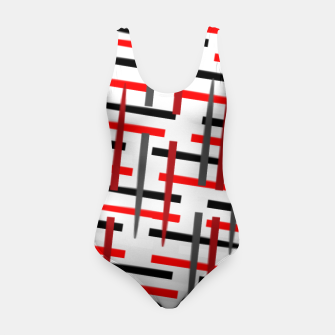 Thumbnail image of black white red grey white abstract art Swimsuit, Live Heroes