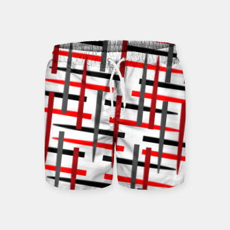 Miniature de image de black white red grey white abstract art Swim Shorts, Live Heroes