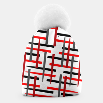 Thumbnail image of black white red grey white abstract art Beanie, Live Heroes