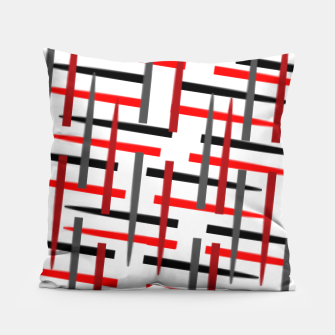 Thumbnail image of black white red grey white abstract art Pillow, Live Heroes