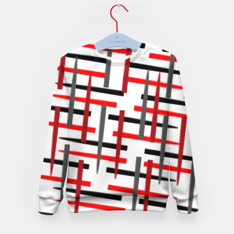 Miniature de image de black white red grey white abstract art Kid's sweater, Live Heroes