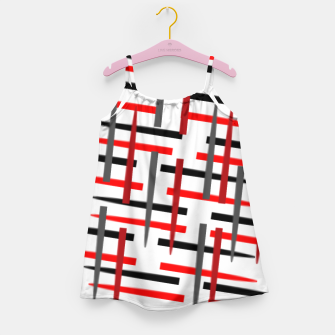 Thumbnail image of black white red grey white abstract art Girl's dress, Live Heroes