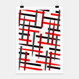 Thumbnail image of black white red grey white abstract art Poster, Live Heroes