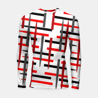 Thumbnail image of black white red grey white abstract art Longsleeve rashguard , Live Heroes