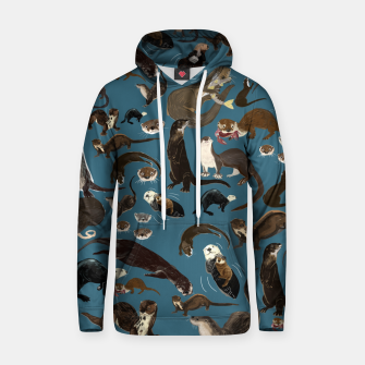 Miniature de image de Otter pattern in teal Sudadera con capucha, Live Heroes