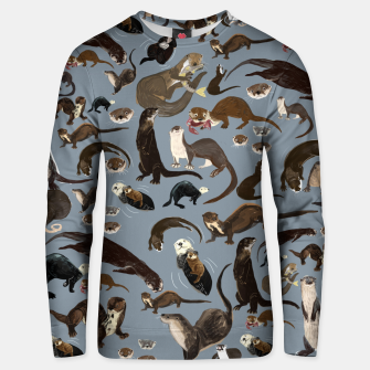 Miniature de image de Otters of the World pattern in grey Sudadera unisex, Live Heroes