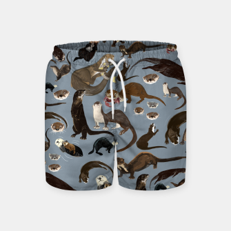 Miniature de image de Otters of the World pattern in grey Pantalones de baño, Live Heroes
