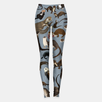 Thumbnail image of Otters of the World pattern in grey Leggings, Live Heroes