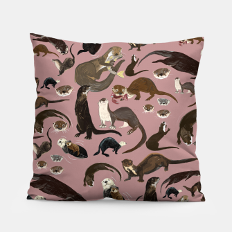 Miniature de image de Otters of the World pattern in pink Almohada, Live Heroes
