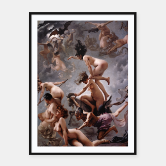 Miniatur Witches Going To Their Sabbath by Luis Ricardo Falero Framed poster, Live Heroes