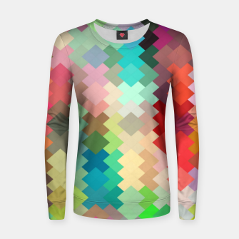 Thumbnail image of geometric square pixel pattern abstract in red blue green yellow Women sweater, Live Heroes