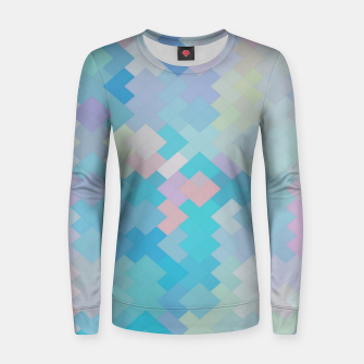 Thumbnail image of geometric square pixel pattern abstract in blue and pink Women sweater, Live Heroes