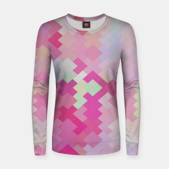 Thumbnail image of geometric square pixel pattern abstract in pink Women sweater, Live Heroes