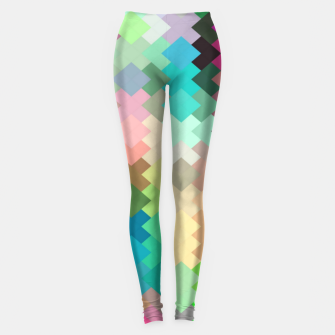 Thumbnail image of geometric square pixel pattern abstract in red blue green yellow Leggings, Live Heroes