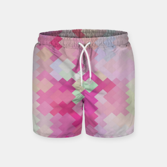 Thumbnail image of geometric square pixel pattern abstract in pink Swim Shorts, Live Heroes