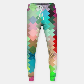 Thumbnail image of geometric square pixel pattern abstract in red blue green yellow Sweatpants, Live Heroes