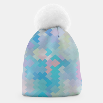 Thumbnail image of geometric square pixel pattern abstract in blue and pink Beanie, Live Heroes