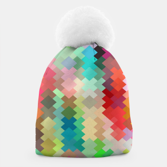 Thumbnail image of geometric square pixel pattern abstract in red blue green yellow Beanie, Live Heroes