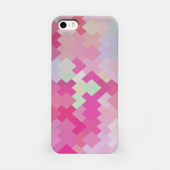 Thumbnail image of geometric square pixel pattern abstract in pink iPhone Case, Live Heroes